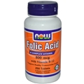 NOW Folic Acid, 800mcg, with B-12, 250 tab