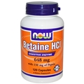 NOW Betaine HCL, 648 mg /150 Pepsin, 120caps