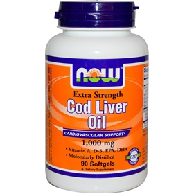 NOW Cod Liver Oil, 1000mg, 90 gels, Extra Strength