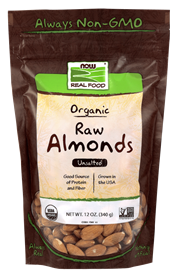 Now - Almonds, Organic & Raw Unsalted 12 Ounces
