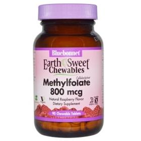 Bluebonnet Nutrition, EarthSweet Chewables, CellularActive Methylfolate, Natural Raspberry Flavor, 800 mcg, 90 Chewable Tablets