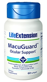 Life Extension MacuGuard with Lutein, Meso-Zeaxanthin and C3G, 60 gels