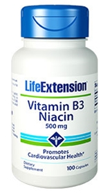 Life Extension Niacin (B3) caps, 500 mg, 100 caps