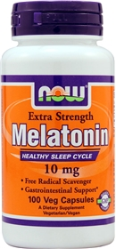 NOW Melatonin 10 mg, Extra Strength, 100 VCaps