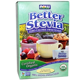 NOW Stevia BetterStevia, Organic, 75 (1 g) Packets