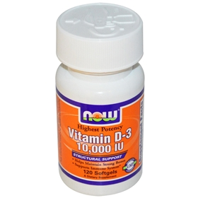 NOW Vitamin D-3 10,000 IU, 120 Softgels