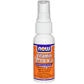NOW Vitamin D-3 & K-2 Liposomal Spray , 2 oz.