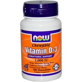 NOW Vitamin D-3, 1000 IU, 180 Chewables