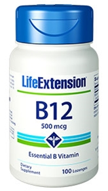 Life Extension B12, 500mcg, 100 lozenges