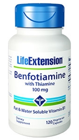 Life Extension Benfotiamine with Thiamine, 100mg, 120 Vcaps