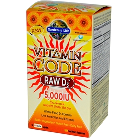 Garden of Life Vitamin Code Raw D-3, 5000 IU, 60 gels