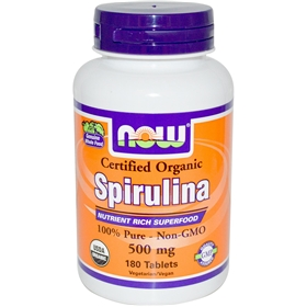 NOW Spirulina, 500mg, 180 Tabs, Organic